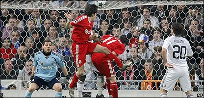 Yossi Benayoun heads the winner for Liverpool