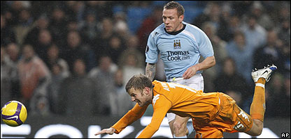 Craig Bellamy in action for Manchester City