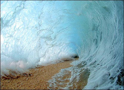 This is a rare photo of the 'tube' inside a massive wave.