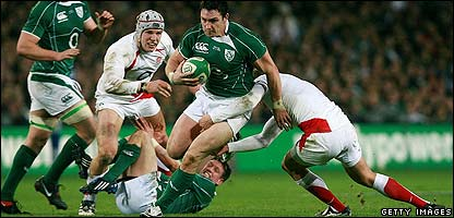 Ireland in action against England