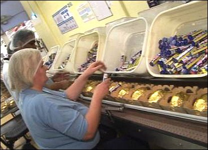 Factory workers packing eggs and Smarties together.