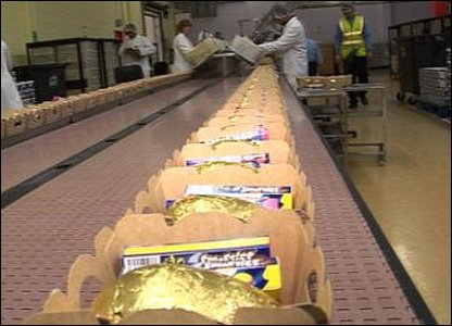 Easter eggs with smarties travelling on the conveyor belt.
