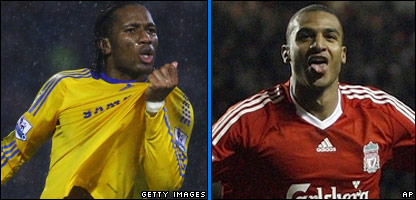Chelsea's Didier Drogba and Liverpool's David Ngog