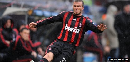 David Beckham of Milan during the Serie A match between Sampdoria and Milan  (Photo by New Press/Getty Images)
