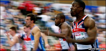 Dwain Chambers in the men's 60m final
