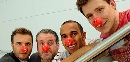 Gary Barlow, Chris Moyles, Lewis Hamilton and Ben Shepherd