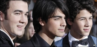 From left to right, singer Kevin Jonas, singer Joe Jonas, and singer Nick Jonas