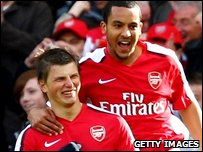 Andrei Arshavin and Theo Walcott of Arsenal