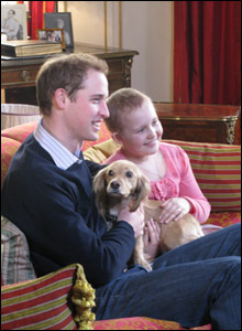 Prince William and Alice with Brinnie the dog