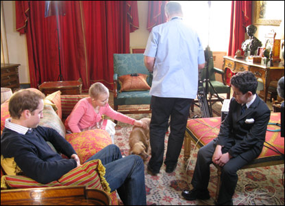 Oscar, Alice and Prince William chatting after filming