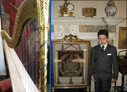 Oscar in front of the marble fireplace and a phot of the harp he liked so much