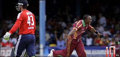 England and the West Indies in action