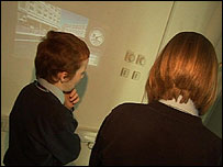 Children using the phone projector