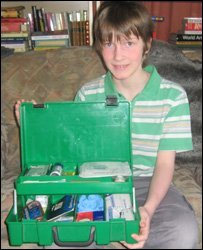 Lorin and his first aid kit