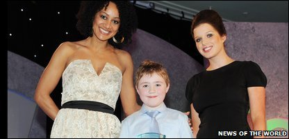 Cameron with Tupele Dorgu and Helen Flanagan from Coronation Street