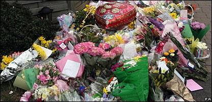 Flowers outside Jade Goody's house in Essex
