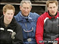 Princes Charles with Princes William and Harry