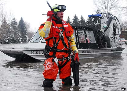 A rescue swimmer in Dakota