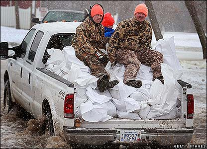 Sandbags being transported in Dakota