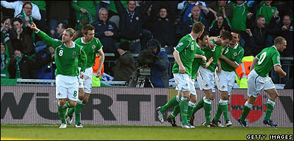 Northern Ireland players celebrate a goal