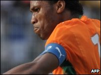 Didier Drogba playing for the Ivorian National football team