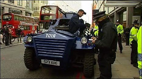 Protesters in their 'riot' truck in the City of London