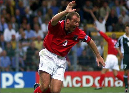 Alan Shearer playing for England