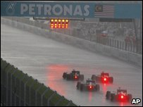 Rain at the Malaysian Grand Prix in Sepang