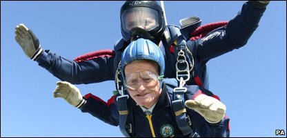 George Moyse during his tandem skydive