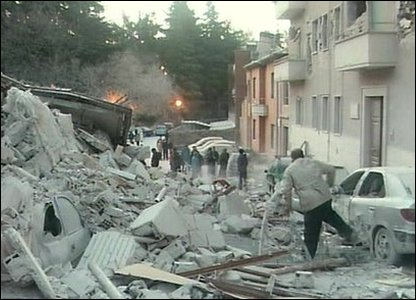 Man runs through rubble