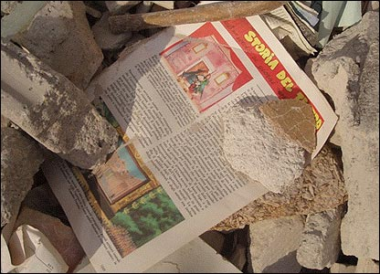 A comic in the rubble in Italy