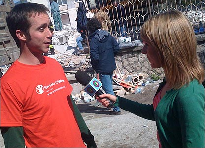 Maddy chats to a charity worker
