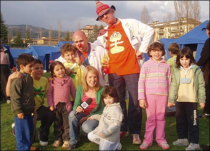 Clowns at the tent village