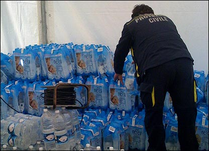 Water at the tent village in Italy