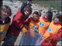Some of the kids taking part in the beach clean-up