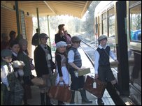 Pupils boarding the train