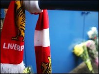 Liverpool scarf and flowers