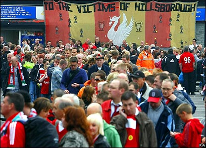 Fans queue outside Anfield for the memorial service