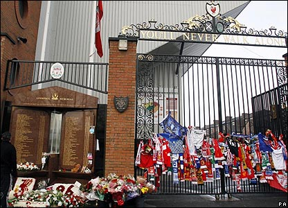 The fans memorial at Anfield