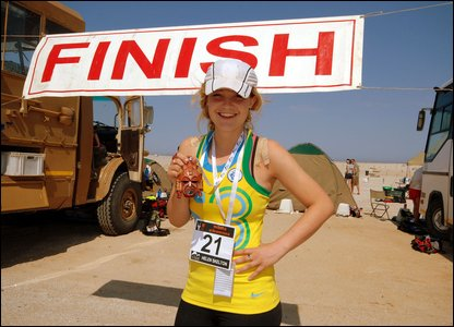 Helen Skelton with her medal after finishing the marathon