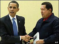 查韋斯在美洲國家峰會期間會見奧巴馬