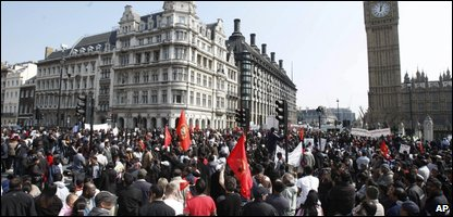 Protesters outside the Houses of Parliament in London