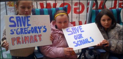 Pupils protesting about the closures
