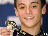 Tom Daley with his silver medal at the World Series in Sheffield