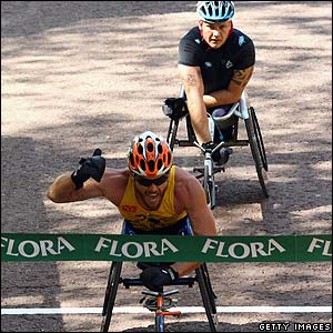 The finish of the men's wheelchair race