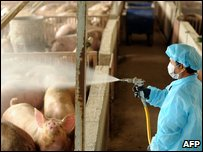 A government worker disinfecting a pig farm in central Taiwan