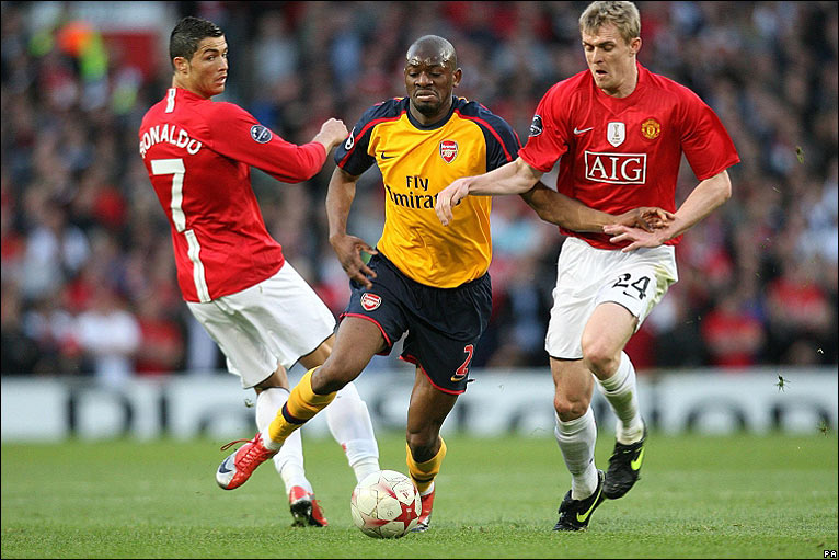 Gunners midfielder Abou Diaby attempts to launch a rare attack for the ...