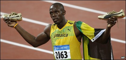 Usain Bolt after winning the men's 100m final
