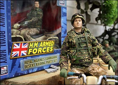 Army doll next to box