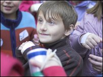 Harry with a sticker on his hand
